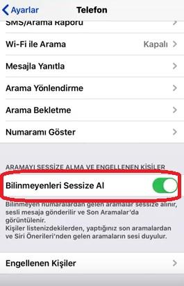 iPhone arayan numara yok engelleme