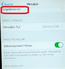 İphone engellenen mesajlar nerede