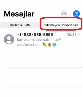 iPhone telefonlarda numarasız mesajları engelleme
