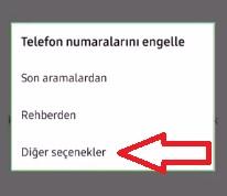 0850 numaraları engelleme Samsung