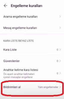 Huawei Kara Liste mesajları görme