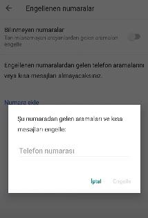 Xiaomi mi note 10 lite numara engelleme